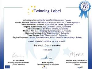 Certifkát E-Twinning Be cool! Don´t smoke!