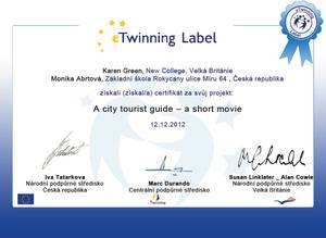 Certifkát E-Twinning A city tourist guide